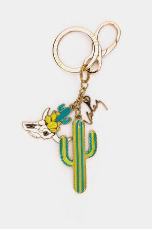 Llavero metálico para mujer cactus