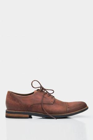 Zapatos cordón relive de cuero para hombre efecto envejecido
